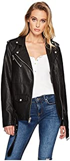 ژاکت موتورسیکلت چرمی چرمی Oversized Faux زنان لووی (اندازه های استاندارد و به علاوه)