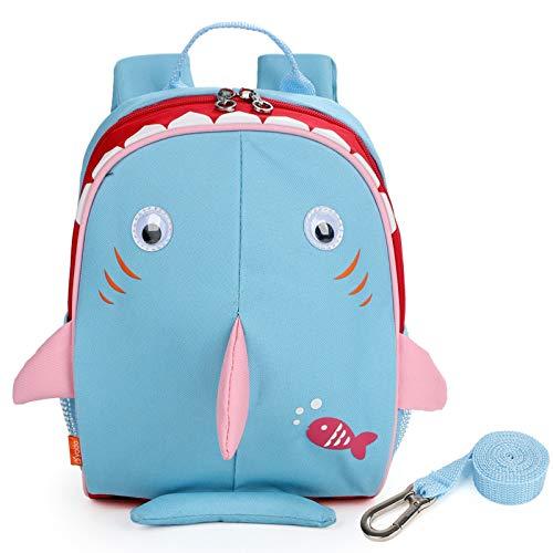 Yodo Kids mochila aislada para niños con correa de seguridad arnés bolsa de almuerzo, Viajar, Tiburón azul claro