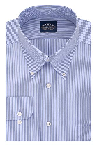 Eagle Men's Dress Shirt Regular Fit Non Iron Stretch Collar Stripe, Periwinkle, 17' Neck 32'-33' Sleeve (X-Large)