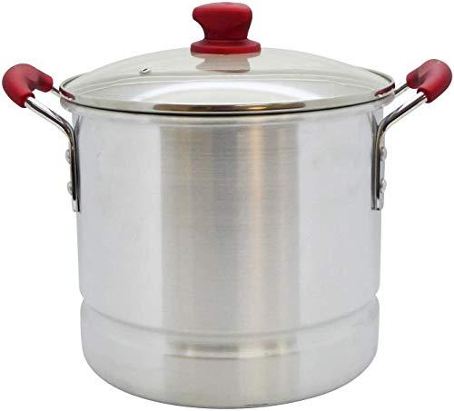 IMUSA USA, Ruby Red 32 Quart Aluminum Steamer with Glass Lid & Soft Touch Handles