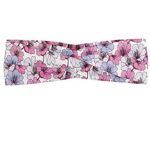 ABAKUHAUS Floral Bandeau, Graphiques de camélias Gardenias sur les branches, Serre-tête Féminin Élastique et Doux pour Sport et pour Usage Quotidien, Rose pâle Blanc Mauve