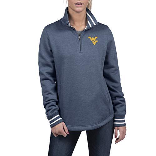 Top of the World West Virginia Mountaineers Women's Premium Triblend Fleece 1/2 Zip Pullover, Large