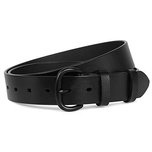 Womens Black Buckle Belt SANSTHS Casual Leather Jeans Belts, Black S