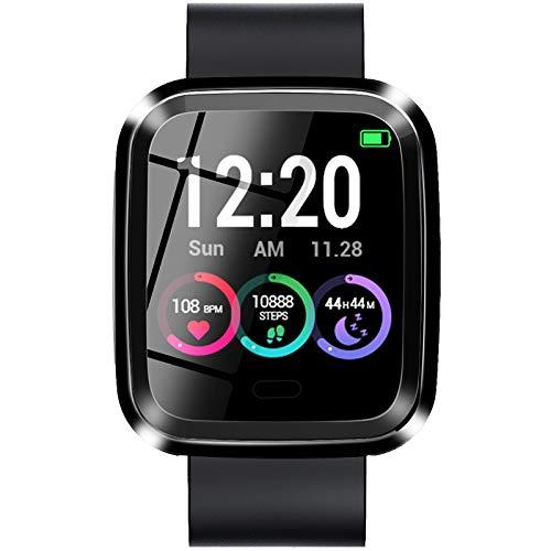 Huante Reloj inteligente L7 IP68 reloj inteligente de las mujeres de contacto completo rastreador de fitness para los hombres reloj inteligente inteligente para iOS Android negro