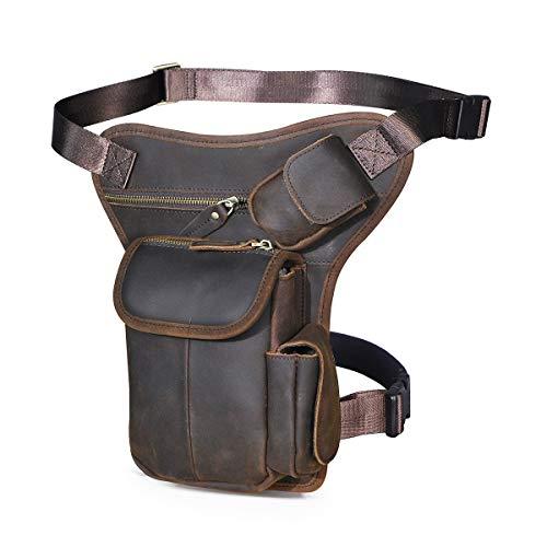 Le'aokuu Hombres Cuero Genuino Bolso Cintura Bolsa de Pierna Bolsa para Hombres Bolso Multifuncional Militar Táctico Moto Bicicleta Senderismo Deportes Camping Montar 3106 (0 3106 Negro marrón)