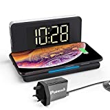 Pointuch 10W Qi Wireless Charger with Digital Alarm Clock, White Bedside Night Light, Dimming LED Display Clock, USB Port Charging Port for iPhone Samsung (UK Plug Adapter)