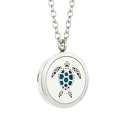 Aromatherapy Pendant for Women Essential Oil Diffuser Necklace Turtle Stainless Steel Locket Pendant Animal Jewelry