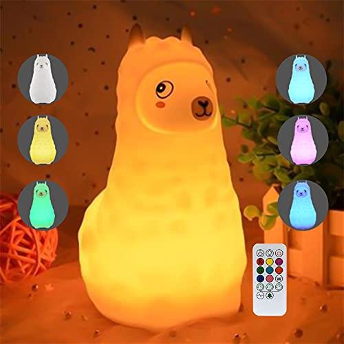 Luz de Noche Bebé, otutun Lámpara Quitamiedos Portátil Luz de Noche Suave Silicona Alpaca con Control Táctil USB Recargable Lámpara Infantil LED para Infantiles Dormitorio Decoración Regalo