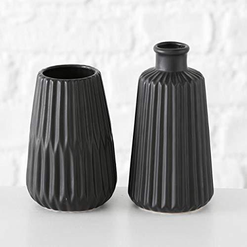 Vase Porzellan matt schwarz H17 cm (2 Stück) Blumenvase