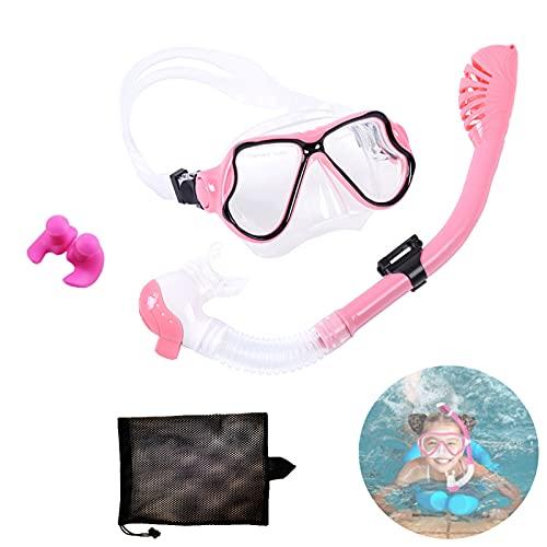 Kit de Snorkeling,Máscara de Snorkel para Niños,Gafas y Tubo de Snorkel Set,Set de Buceo para Niño,con Campo de Visión Panorámico de 180°,para Mujeres Y Hombres. (Rosa)