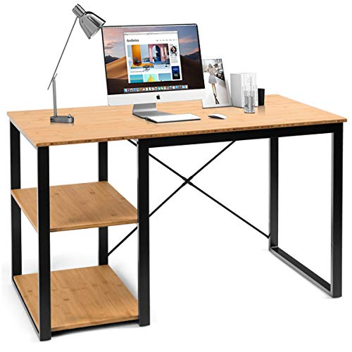 Tangkula Computer Desk, Modern Writing Desk with Storage Shelves, Sturdy Writing Table with Bamboo Wood Top, Computer Workstation Laptop Table Home Office Desk (Natural)