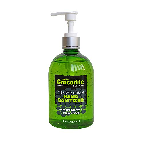 Crocodile Cloth Fiercely Clean Gel Hand Sanitizer - Hand Sanitizer with Aloe Vera - Alcohol-Based Antibacterial Disinfectant For Hands - Fresh Scent - Pump Top - 12.5oz Bottle