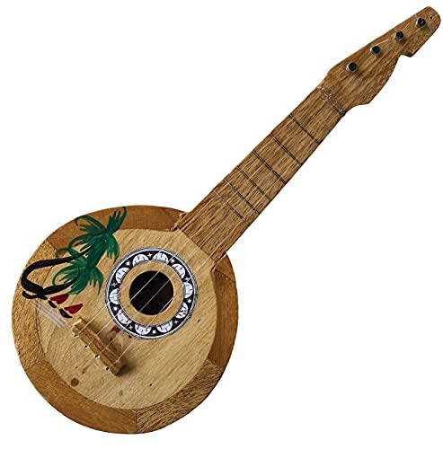 Beistle Ukelele hawaiano de coco – Hula Girl Accesorio para disfraz de fiesta tropical Luau suministros de cumpleaños, foto cabina, 43 cm, multicolor