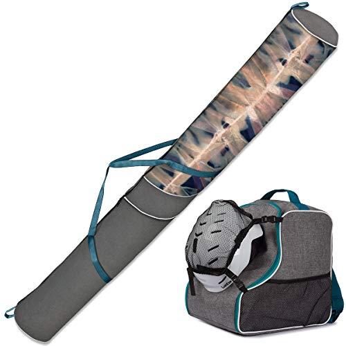 Ferocity Premium Skitas tas & skischoentas Set Ski tas voor laarzen, 1 paar Ski 170 cm helm met afneembare nettas [053]