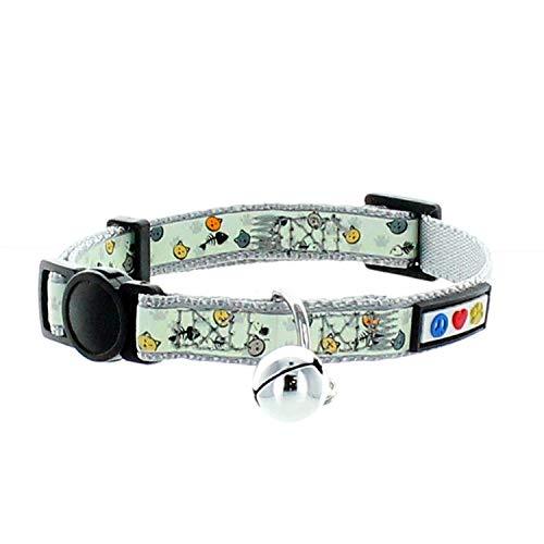Pawtitas Collar de Gato Brilla en la Oscuridad con Hebilla de Seguridad y Cuello de Gato Campana Desmontable Collar de Gatito Gris Collar de Gato