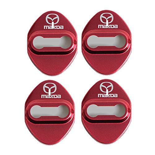 ドア ストライカー カバー マツダ 専用 車用ドアロック 高級 鏡面ステンレス製 アクセサリー カスタム パーツ ヒンジ 貼り付けタイプ 簡単取り付け カー用品 5色選択可 4個セット (レッド)