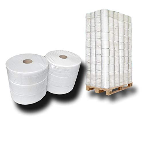 Palette Jumbo-Toilettenpapier, Jumbo-Rollen, Klopapier-Rollen, WC-Rollen, 2 lagig ca.28cm Ø x 360m ca 60% Weiße