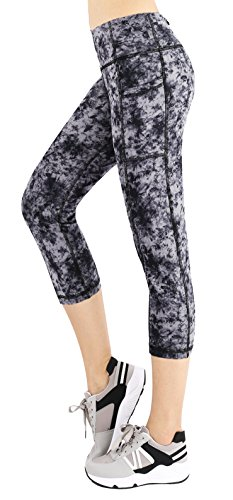 Sugar Pocket Women's Running Capris Workout Tights Half Pants with Side Pockets XL (Painting)