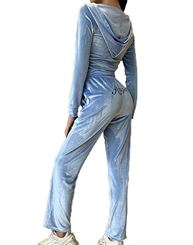 Damen Velours Velvet Trainingsanzug Zip Up Kapuzenoberteile + Lange Hosen Spielanzug Sport Gym Jogginganzug Lounge Wear