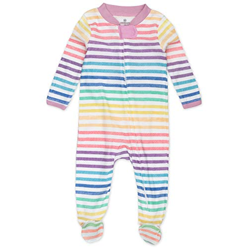 HonestBaby Organic Cotton Footed Sleep & Play Pajamas, Rainbow Stripe, 0-3 Months