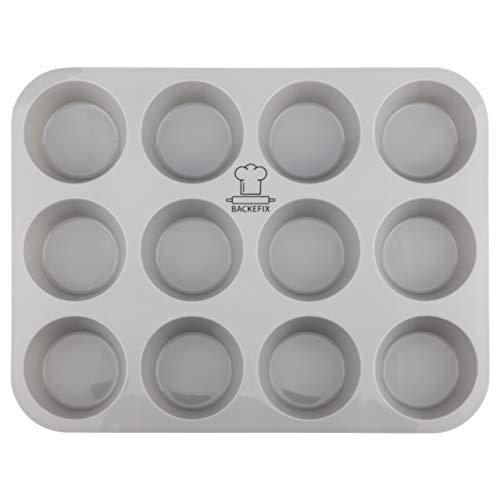 Backefix Muffinblech 12er Muffinform aus Silikon – antihaftend & flexibel Ø 6,5 cm Backblech für Muffins