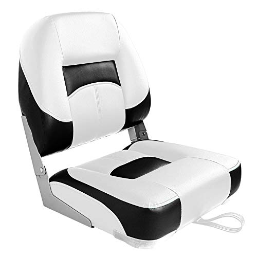 Leader Accessories Low Back Folding Fishing Boat Seats (White/Black(1 seat))