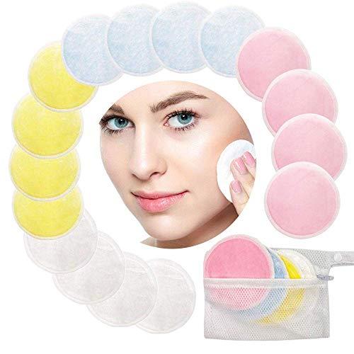 Almohadillas desmaquilladoras reutilizables, leegoal 16Pcs almohadillas de algodón de bambú lavables con bolsa de lavandería, almohadillas de enfermería facial suave para limpiar el ojo/cara limpia