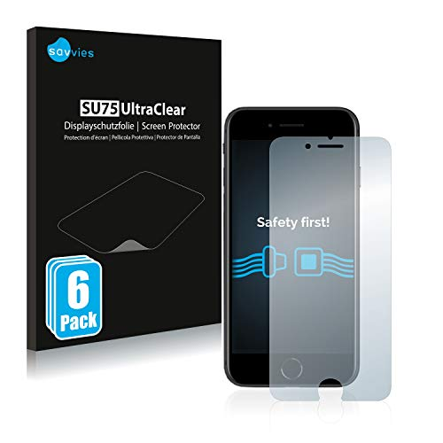 savvies Protector Pantalla Compatible con Apple iPhone SE 2 2020 (6 Unidades) Pelicula Ultra Transparente