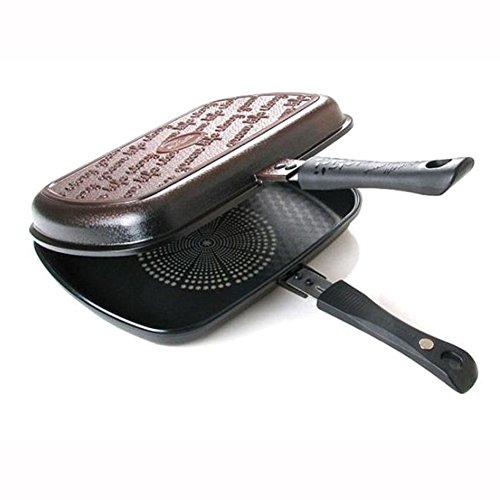 Quinsense Titanum Cubin double face Poêle Toast à double face multi-usages Poêle à frire Sandwich Grill pour la viande Poisson Poulet