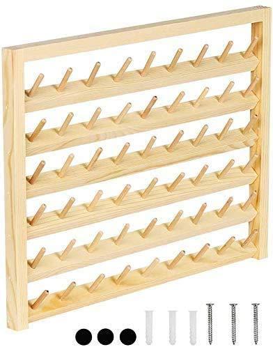 LIANTRAL Soporte de 54 bobinas de hilo de coser montado en la pared con ganchos para colgar en la pared, organizador de madera para mini costura, acolchado, bordado, joyería
