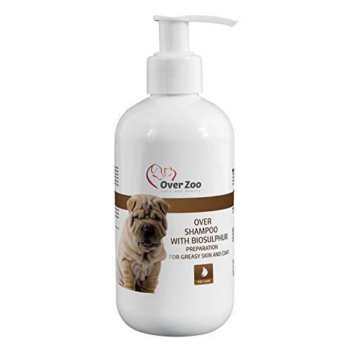 Over-Zoo - Professionelles Hunde-Shampoo für fettiges Fell gegen Juckreiz und Kratzen - ideal bei Hautproblemen und Hautmykose - schonende Fellpflege ohne Salz und Farbstoffe (250 ml)