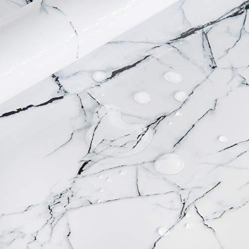 Klebefolie Möbel Selbstklebend Weiß Marmor 40cmX3m Wasserdicht Möbelfolie Selbstklebende Tapeten Vinylfolie Aufkleber Abnehmbare Dekofolie küche Wand Schränke Zähler TV-Wand Esstisch