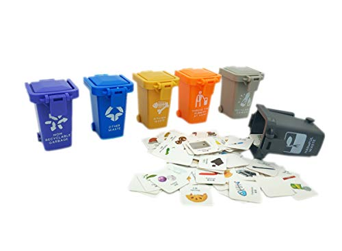 AITING Kids Garbage Classification Toy Vehicles Garbage Truck's 6 Trash Cans +100 Card