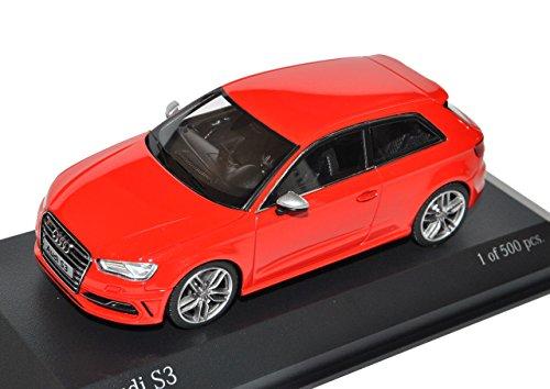 Minichamps A-U-D-I A3 S3 8V 3 Türer Rot Ab 2012 1/43 Modell Auto mit individiuellem Wunschkennzeichen