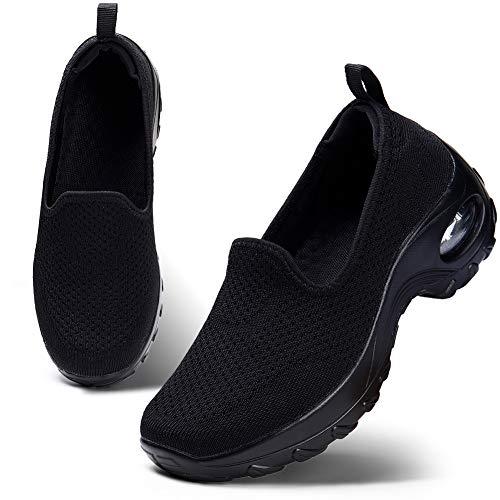 HKR Damen Mesh Atmungsaktiv Walkingschuhe Freizeit Leichte Laufschuhe Gym Sportshuhe Outdoor Platform Sneakers Schwarz 40 EU