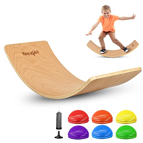 Yes4All Combo Kinderboard with Balance Pods, 7-Piece Special Combo for Kids & Adults, Curvy Board Open Ended Learning Toy for Kids