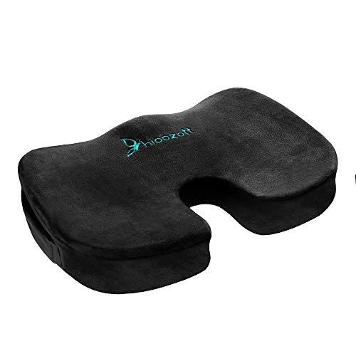 Hioozott Comfort Zitkussen 100% Memory Foam Coccyx Kussen voor Tailbone Pijn Orthopedische Zitkussen voor Home Office Stoel, Auto Stoel & Rolstoel Coccyx Kussen Sciatica & Back Pijn Relief (Zwart)