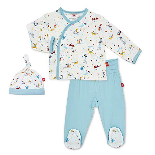 Magnetic Me by Magnificent Baby 3-Piece Magnetic Kimono, Pant, Hat Set, Blue Carnivale, Pre (5 lb)