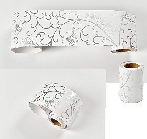 Borde de papel pintado blanca,retirable autoadhesiva de para decoración de cocinas baños y azulejos 1000 x 10cm