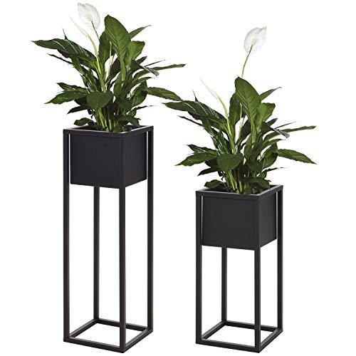 2er Set Blumentopfständer, 21x21xH50cm und 21x21xH70cm, Metallständer in Schwarz, Blumentopfhalter Pflanzkasten