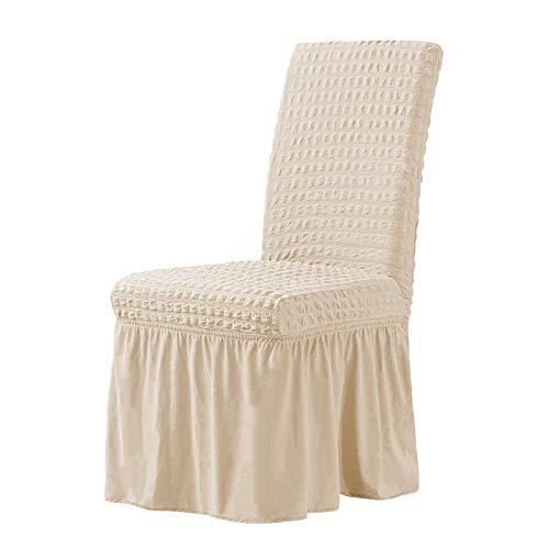 YMOMG Funda para silla de comedor, 1/4/6 piezas, alta elasticidad, extraíble y lavable, funda para silla de ceremonia de boda de hotel (amarillo claro, 1 unidad)