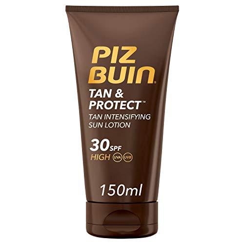 Piz Buin, Protección Solar, Loción Solar Tan & Protect Intensificadora del Bronceado SPF 30 Protección Alta, Bote 150 ml