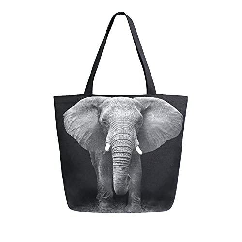 SunsetTrip - Bolsa de lona para mujer, diseño de elefantes africanos de animales salvajes con bolsillo interior