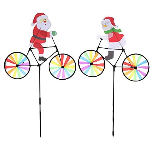 TAHUAON Jardín de Navidad Spinner Santa en bicicleta Molino de viento Navidad Pinwheels vacaciones 2pcs