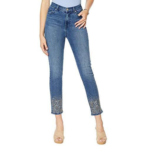DG2 by Diane Gilman Women's Petite Snake Embellished Skinny Ankle Jeans Petite 18W Midtone