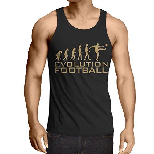 lepni.me Camisetas de Tirantes para Hombre La evolución del fútbol - Camiseta de fanático del Equipo de fútbol de la Copa Mundial (Small Negro Oro)