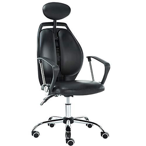 JXHD Ergonomische Bürostuhl/Recliner/Swivel Armchair - High Back Home Office Mittagspause Chair, Orange Oder Schwarz Optional,Black-PU-Leather