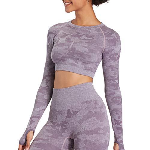 Aoxjox Women's Workout Camo Long Sleeve Seamless Crop Top Gym Sport Shirts (Camo/Lavender Grey, X-Small)