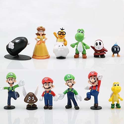CYSJ Super Mario Cake Topper 12 pcs Super Mario Figuras Decoración para Tarta de cumpleaños de Animales de Dibujos Animados Decoración de La Torta del Fiesta Suministros