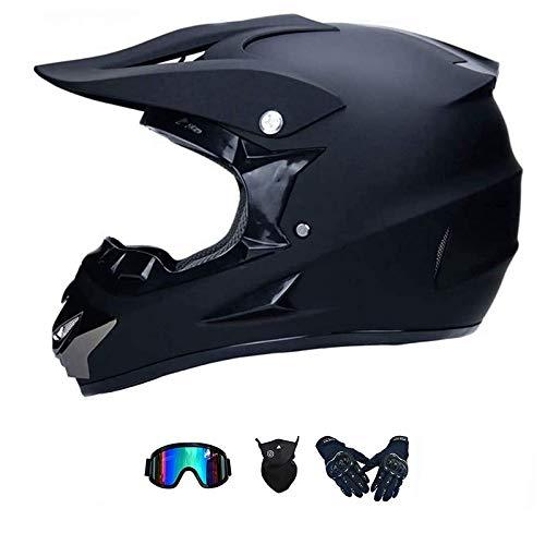 LALAGOU Motorradhelm, Motocross-Helm, Trageset, Downhill-Helm für Kinder, für BMX, MTB, Quad, Enduro, ATV, Scooter, ECE und DOT, mit Brillen, Handschuhen, Masken (L56 – 57 cm)